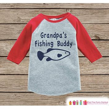 Humorous Boy's Outfit - Red Raglan Shirt - Grandpa's Fishing Buddy Onepiece or Tshirt - Novelty Raglan Tee for Baby Boys, Toddler, Infant