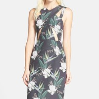 Women's STYLESTALKER 'Sail Away' Floral Print Cutout Midi Sheath Dress,
