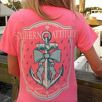 Country Life Outfitters Southern Attitude Anchor Bow Pink Vintage Girlie Bright T Shirt
