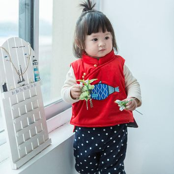 Candy Color Ins Baby Coat Cotton Vest Cotton Winter Thicken Kids Outwear Winter Warm Toddler Outwear Small Fish Print Hot Sale
