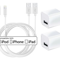 Charger, Certified TRICON 5W 1A USB Universal Portable Wall Power Adapter Mini Cube with 6 FEET / 2M iPhone Charger Lightning to USB Charging Cable (2 Pack) White