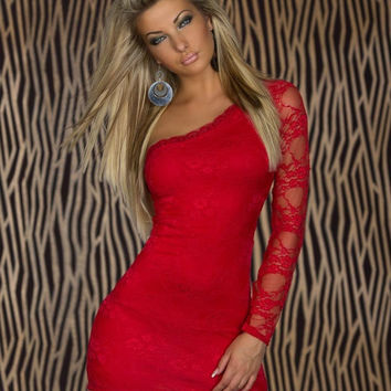 Red One Shoulder Long Sleeve Lace Bodycon Mini Dress