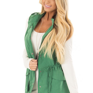 Kelly Green Zip Up Button Vest with Draw String and Pockets
