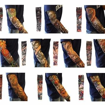 10pcs Set Body Art Arm Accessories Fake Temporary Tattoo Sleeves Sexy Girl Tiger Crown Heart Skull Tribal Shape
