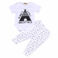 2pcs!!Cotton Newborn Baby Boy Girl Romper Tops +TriangleLong Pants 2pcs Outfit Clothes Sets