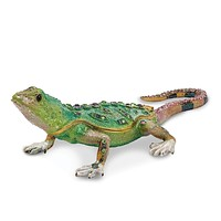 Bejeweled Mojave Lizard Trinket Box with Charm Pendant