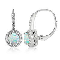 Sterling Silver Created Opal and White Topaz Round Leverback Earrings