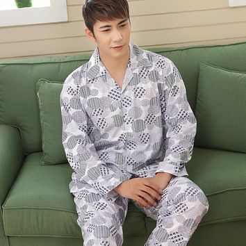 Free Shipping High Quality Men's Long Sleeve Turn-down Collar Sleepwear Set Soft Cotton Pajamas Nightgown Autumn Homewear