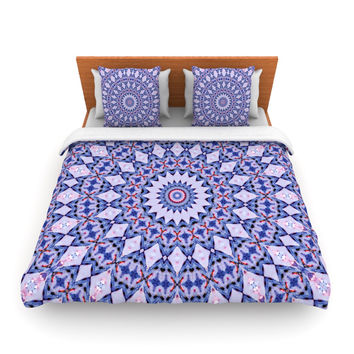 "Iris Lehnhardt ""Kaleidoscope Blue"" Circle Blue Queen Fleece Duvet Cover - Outlet Item"