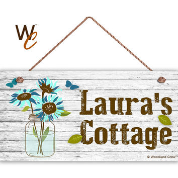 "Cottage Sign, BLUE Garden Flowers in Mason Jar, Personalized Sign, Custom Name Change, Great Gift, Weatherproof 5"" x 10"" Sign, Made To Order"