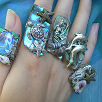 ChOOSE ONE sea life abalone ring sea turtle mermaid dolphins starfish seahorse nautical boho gypsy beach resort high fashion gypsy hipster