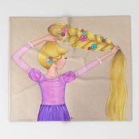 Rapunzel the Lost Princess Throw Blanket by Sierra Christy Art
