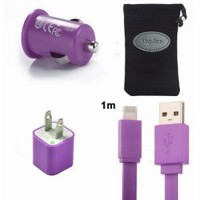 Amazon.com: MegaGear Charger Kit, Purple Lightning USB Data Cable, Car Charger, Wall Charger for Apple iPhone 5 , iPad mini , iPod Touch 5th Gen iPod Nano 7th Gen: Cell Phones & Accessories