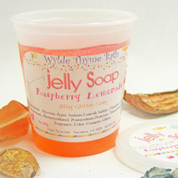 Raspberry Lemonade  Glitter Jelly Soap - Wiggly Jiggly Jelly Soap - Vegan - Fun Jelly Soap - Shower Jellie