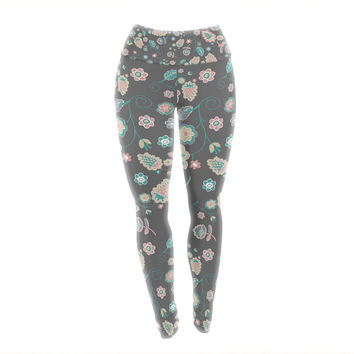 "Nika Martinez ""Cute Winter Floral"" Gray Pastel Yoga Leggings"