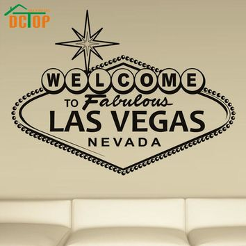 DCTOP Welcome To Fabulous Las Vegas Art Wall Sticker English Character Vinyl Home Decorative Wall Decal For Living Room Wall