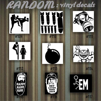 RANDOM vinyl decals - 109-117 - car decal - vinyl sticker - car window sticker - random designs - custom decals