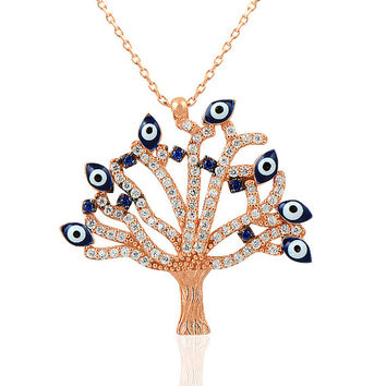 Beelo Silver Rose Gold P. 925K Silver Life Tree Evil Eye  Art Charm Necklace BSRHK057