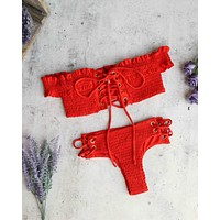 california girl - off the shoulder smocked bikini set - blood orange