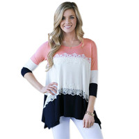 Pink 3/4 Sleeves Color Block Lace Patchwork Irregular Hem T-Shirt