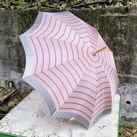 Art Deco Rose Gray Stripe Wood and Brass Handle Umbrella
