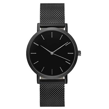 Stainless Steel Mesh Strap Quartz-Watch With Thin Dial