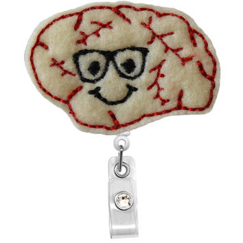 Smiley Glasses Brain  - Nursing Badge Holder -Neuro Nurse Gift-Pediatric Neurologist-RT badge pulls-RN nurse -Cute retractable Badge holder