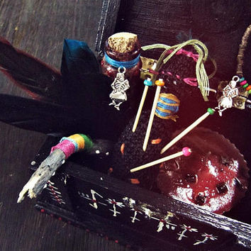 Voodoo Magic Medicine Kit - Papa Legba Marie Laveau Boho Decor - Altar Box - Witchcraft Tool - New Orleans Art - African - Aromatherapy Kit