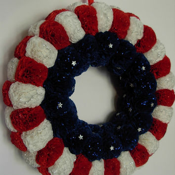 4th of July wreath American patriotic flag wreath USA door decor Independence day wreath Blue red white decor Military wreath Memorial day