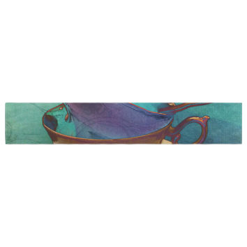 """alyZen Moonshadow """"Mad Hatters T-Party I"""" Turquoise Table Runner"""