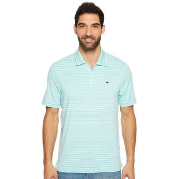 Armstrong Three Color Stripe Polo in Blue Fin by Vineyard Vines - FINAL SALE