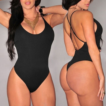 Sexy Women One Piece Swimsuit Swimwear Bathing Monokini Push Up Padded Bikini