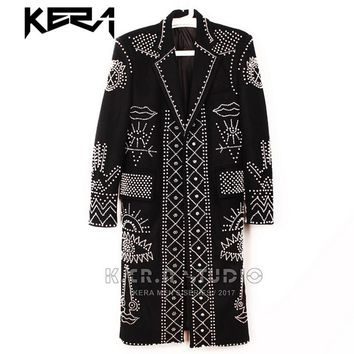 S-5XL Hot Sell Heavy industry pearl black woolen long coat tide trench men 's party performance clothes singer stage costumes