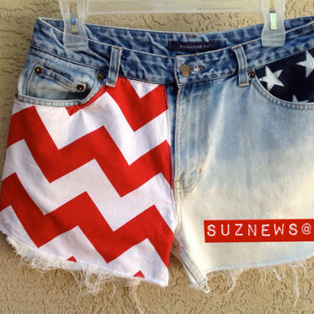 USA Flag Stars Stripes Chevron High Waisted Patriotic Shorts 4th of July CUSTOM MADE // suznews etsy store //