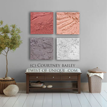 Concrete Abstract art / CUSTOM 4 square ( 15 Inch x 15 Inch) / Office Wall Art / White, Coral, pink, Gray
