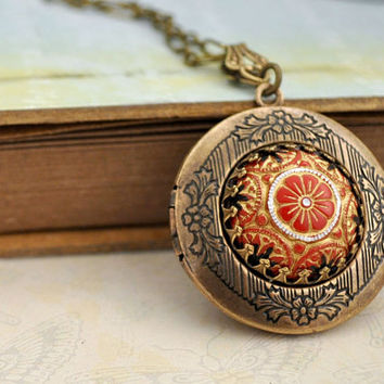 photo locket, necklace for women, princess necklace, THE RUSSIAN PRINCESS, handmade pressed glass cab locket necklace, bridesmaid gift