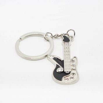 Stunning Guitar Shaped Keyring with Rhinestones