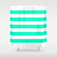 Mint White Stripes Shower Curtain by M Studio