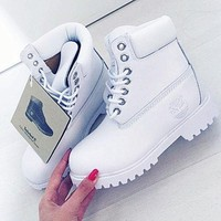 Timberland Fashion Winter Waterproof Boots Martin Leather Boots Shoes white H-AA-SDDSL-KHZHXMKH