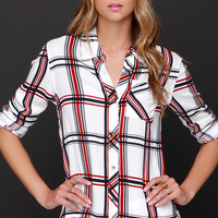 Hay Day Red and Ivory Plaid Button-Up Top