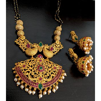 Mangalsutra - Bold Peacock Gold Matte finish Pendant and Earring set - Dual stranded Long chain