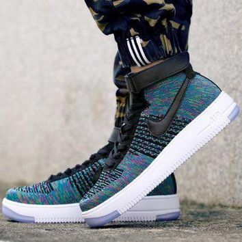 ESBBE6 Nike Air Force 1 Flyknit Mid-High 817420-002 Blue For Women Men Sneakers