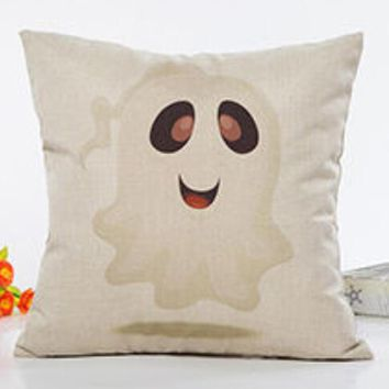 Happy Halloween Pillow Cover Cat Moon Pumpkin Pattern Square Cushion Cover Throw Pillow Case for Home Sofa Decoration 45*45cm
