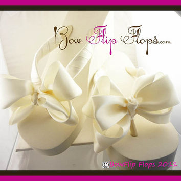 Wedding Flip Flops Bridal Flip Flops Bow Satin Custom Ivory Wedge Platform Plain Bow Heel Wedding Satin White Bride Bow Ribbon bridesmaids