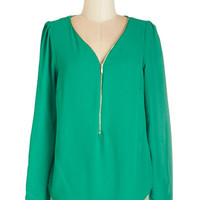 ModCloth Mid-length Long Sleeve Cruise Zip Top in Green
