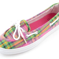 Corkys Deck It Pink Plaid Slip-On Shoes
