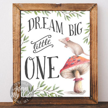 Dream big little one, nursery decor, wall art, print, instant download, nursery print, art print, nursery, baby shower gift nursery wall art