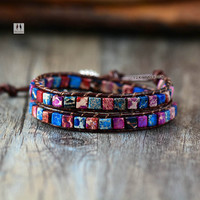 Boho Women Bracelet High Quality Mix Natural Jasper 2 Strands Leather Wrap Bracelets Vintage Weaving Bead Bracelet Handmade