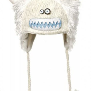 DeLux Yuki the Yeti Wool Pilot Hat with Ear Flaps,White,One Size(S)