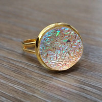 Druzy Ring- Rainbow clear drusy Gold tone druzy ring